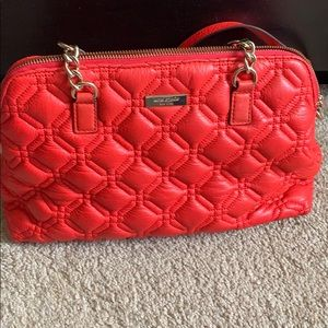 Orangepink Kate Spade purse with crossbody satchel